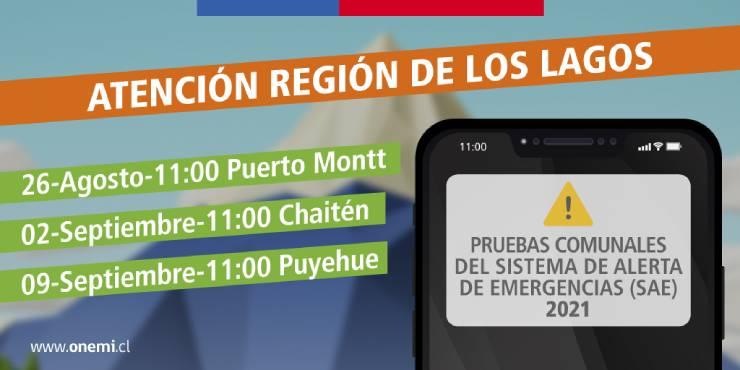 ONEMI Los Lagos iniciará pruebas del Sistema de Alerta de Emergencia en tres comunas de la región.