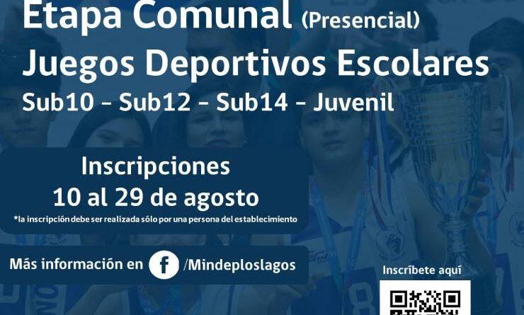 Se inicia proceso de inscripción para la etapa comunal de los Juegos Deportivos Escolares en la región.